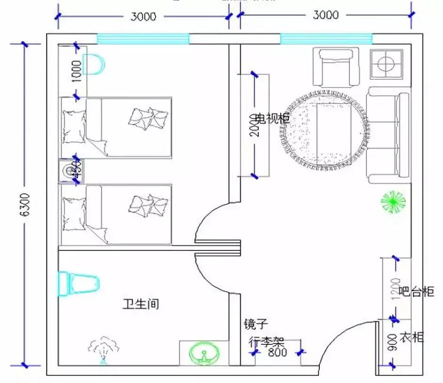 酒店双床套间家具配置分布图
