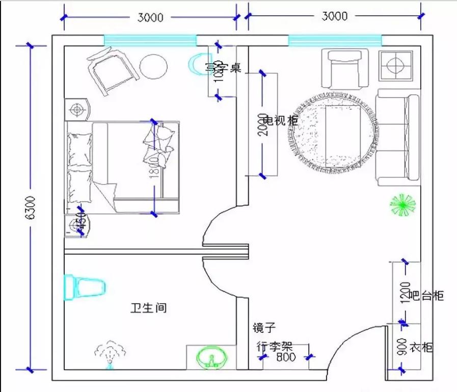 酒店大床客房家具配置分布图