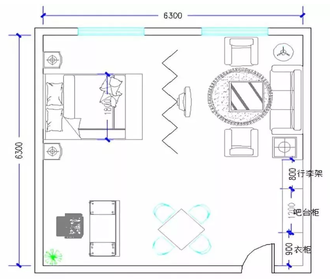 酒店豪华套间家具配置分布图